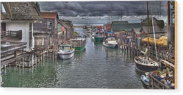 Fishtown Panorama Wood Print by Twenty Two North Photography