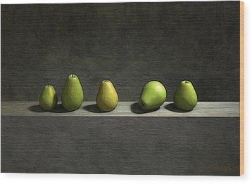 Five Pears Wood Print by Cynthia Decker
