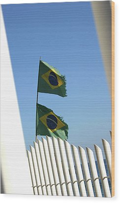 Flags In The Wind Wood Print by Frederico Borges