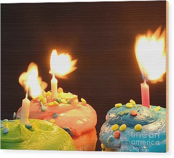 Flaming Cake Wood Print by Timothy OLeary