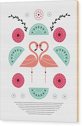Flamingo Flutter Wood Print by Susan Claire
