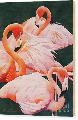 Flamingos Wood Print by Robert Hooper