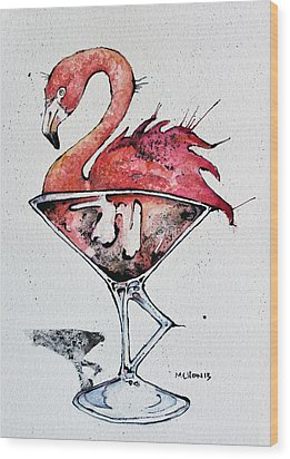 Flamingotini Wood Print by Mark M  Mellon