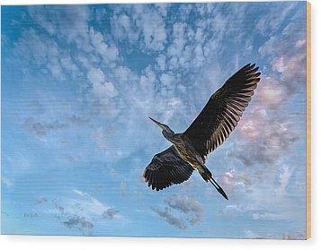 Flight Of The Heron Wood Print by Bob Orsillo