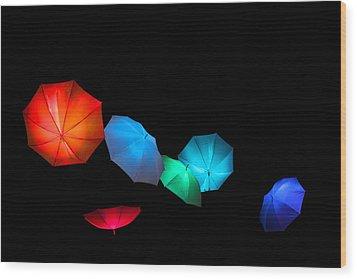 Floating Umbrellas  Wood Print by James Hammen