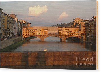 Florence Italy - Ponte Vecchio - Sunset - 01 Wood Print by Gregory Dyer