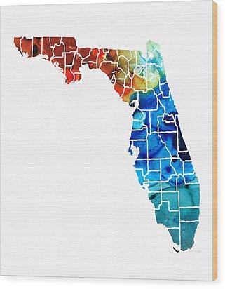 Florida - Map By Counties Sharon Cummings Art Wood Print by Sharon Cummings