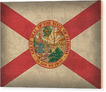 Florida State Flag Art On Worn Canvas Wood Print by Design Turnpike