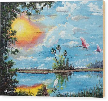 Florida Wilderness Oil Using Knife Wood Print by Riley Geddings
