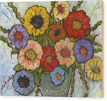 Flower Bouquet Wood Print by Blenda Studio