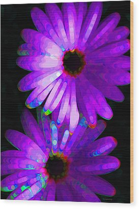 Flower Study 6 - Vibrant Purple By Sharon Cummings Wood Print by Sharon Cummings