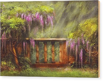 Flower - Wisteria - A Lovers View Wood Print by Mike Savad