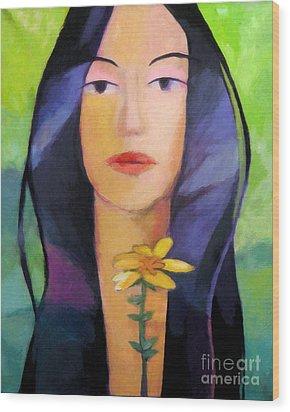 Flower Woman Wood Print by Lutz Baar