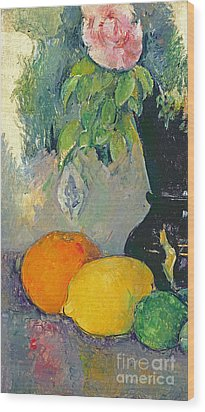 Flowers And Fruits Wood Print by Paul Cezanne