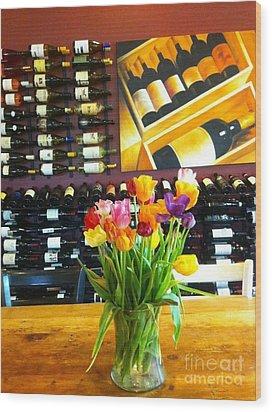 Flowers And Wine Wood Print by Susan Garren