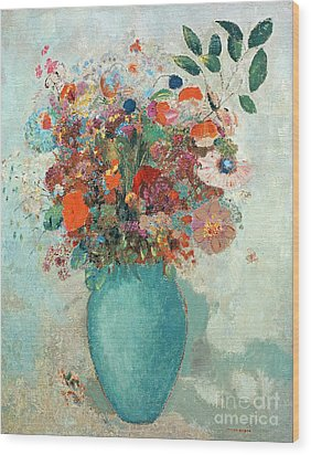 Flowers In A Turquoise Vase Wood Print by Odilon Redon