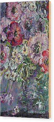 Flowers In An Antique Blue Vase Wood Print by Eloise Schneider