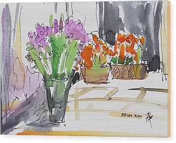 Flowers In Pots Wood Print by Becky Kim