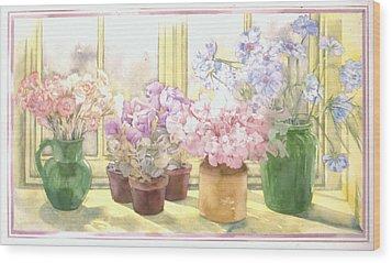 Flowers On The Windowsill Wood Print by Julia Rowntree