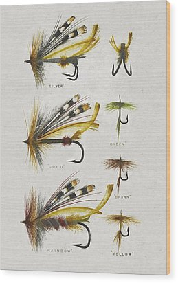Fly Fishing Flies Wood Print by Aged Pixel