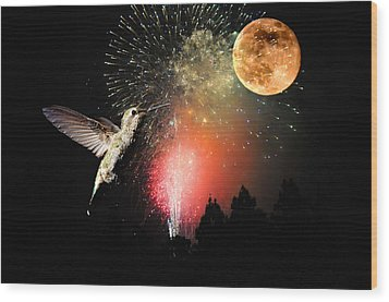 Fly Me To The Moon Wood Print by Lynn Bauer