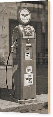 Flying A Gasoline - National Gas Pump 2 Wood Print by Mike McGlothlen
