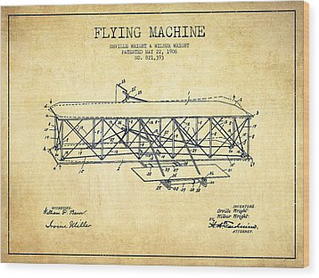 Flying Machine Patent Drawing From 1906 - Vintage Wood Print by Aged Pixel