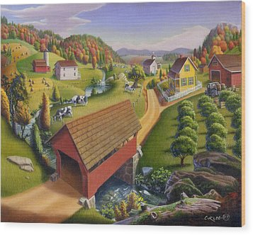 Folk Art Covered Bridge Appalachian Country Farm Summer Landscape - Appalachia - Rural Americana Wood Print by Walt Curlee