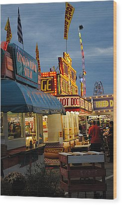 Food Court Wood Print by Skip Willits