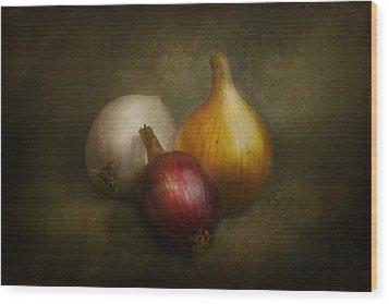 Food - Onions - Onions  Wood Print by Mike Savad