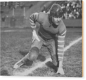 Football Fullback Player Wood Print by Underwood Archives