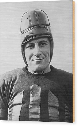 Football Player Portrait Wood Print by Underwood Archives