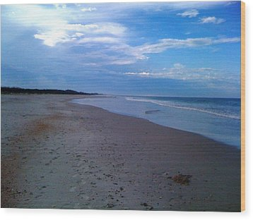 Footprints In The Sand Wood Print by Julie Wilcox