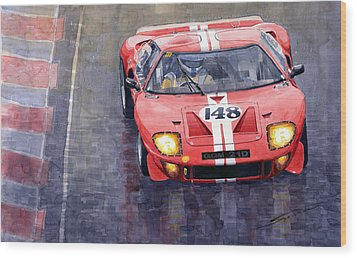 Ford Gt 40 24 Le Mans  Wood Print by Yuriy  Shevchuk