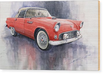 Ford Thunderbird 1955 Red Wood Print by Yuriy  Shevchuk