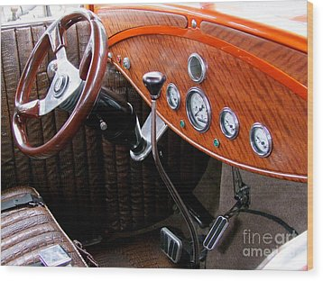 Ford V8 Dashboard Wood Print by Mary Deal