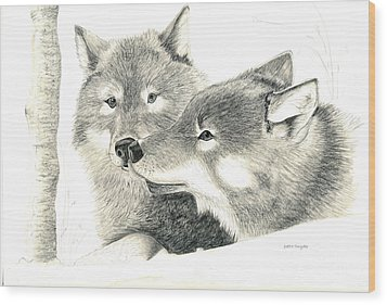 Forever Wolf Love-the Greeting Wood Print by Joette Snyder