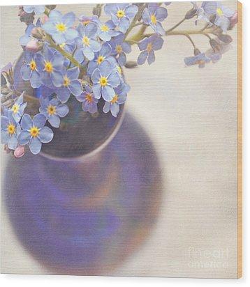 Forget Me Nots In Blue Vase Wood Print by Lyn Randle