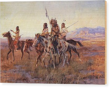 Four Mounted Indians Wood Print by Charles Russell