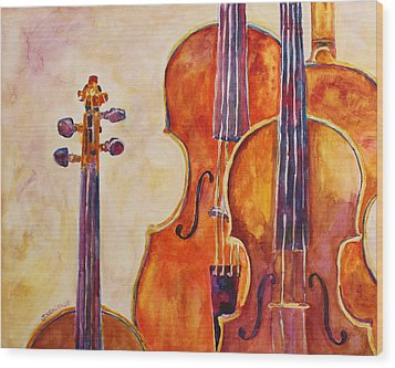 Four Violins Wood Print by Jenny Armitage