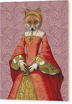 Fox Queen Wood Print by Kelly McLaughlan