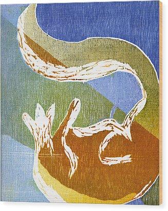 Fox Roll Wood Print by Rebecca Bourke