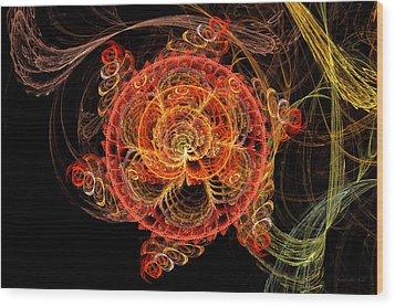 Fractal - Abstract - Mardi Gras Molecule Wood Print by Mike Savad