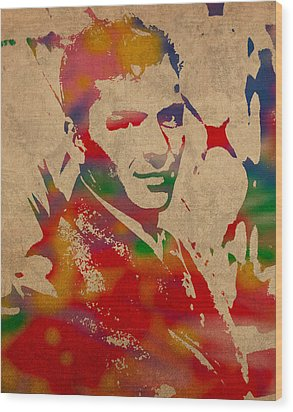 Frank Sinatra Watercolor Portrait On Worn Distressed Canvas Wood Print by Design Turnpike