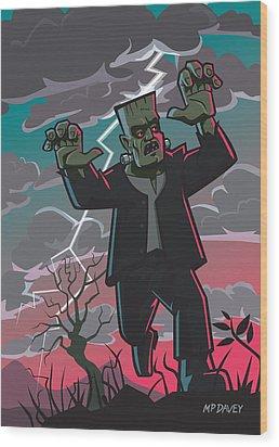 Frankenstein Creature In Storm  Wood Print by Martin Davey