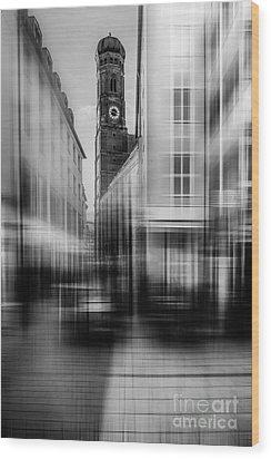 Frauenkirche - Muenchen V - Bw Wood Print by Hannes Cmarits