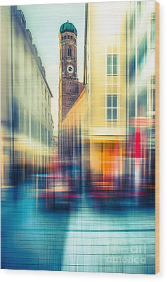 Frauenkirche - Munich V - Vintage Wood Print by Hannes Cmarits