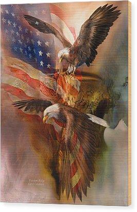 Freedom Ridge Wood Print by Carol Cavalaris