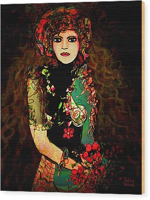 French Girl Wood Print by Natalie Holland