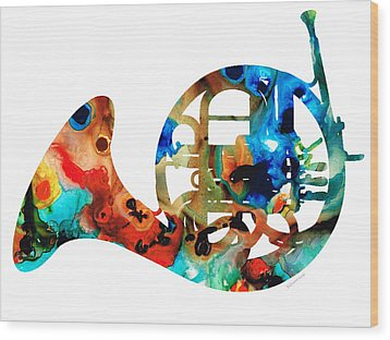 French Horn - Colorful Music By Sharon Cummings Wood Print by Sharon Cummings